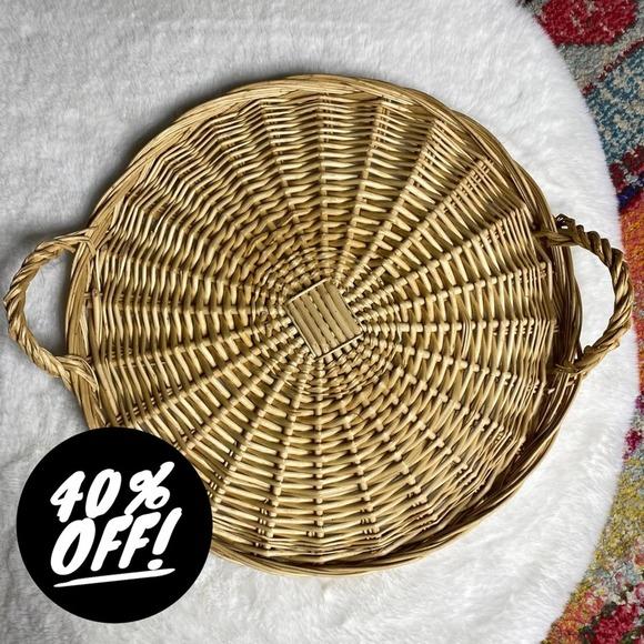 """Vintage Flat 16"""" Wicker Basket Tray Wall Art"""